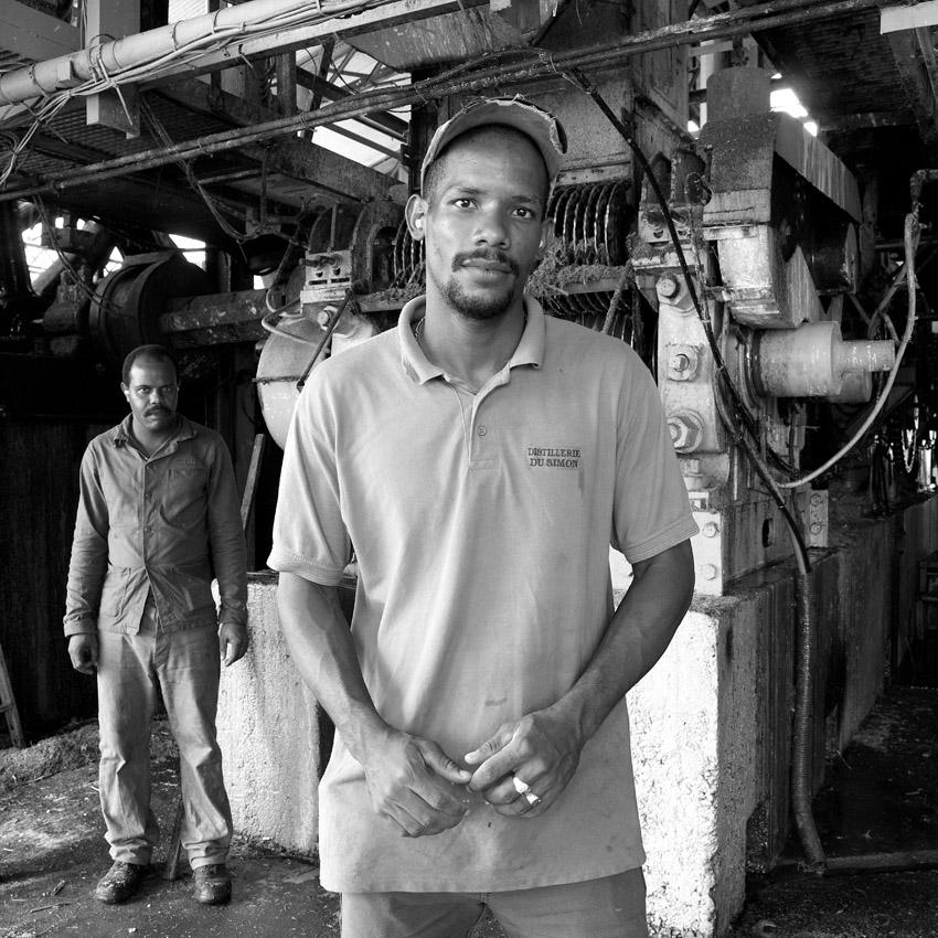 Martinique. Distillerie, poste de travail.